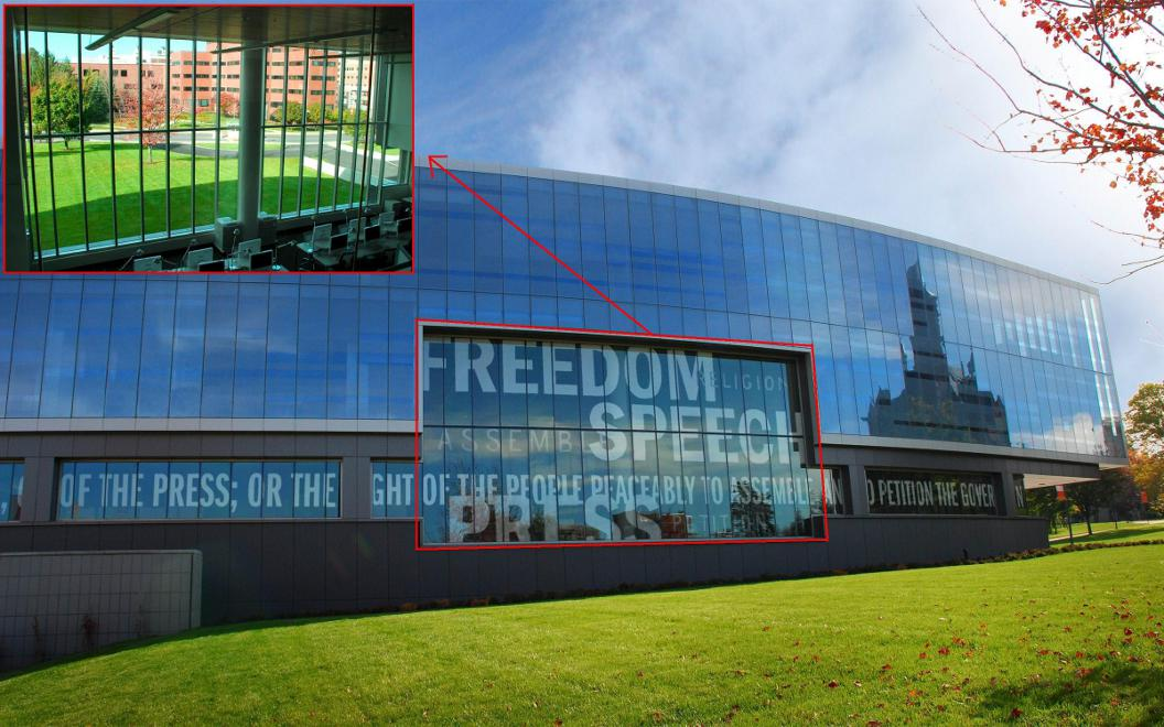 one way glass window phrases from the first amendment of us constitution on decoshade one way vision glass curtain wall inset shows view inside looking out privacy glass panels solar one way vision imaging sciences